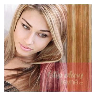 53cm Clip In Haar 100% Menschenhaar europäischen Typs - helle Strähnchen