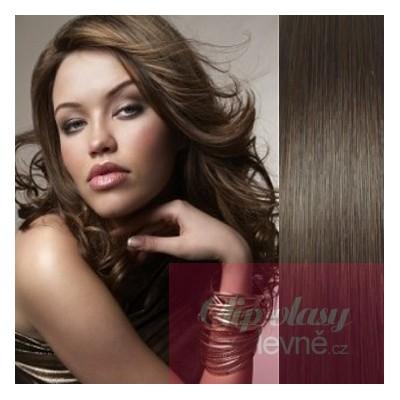 53cm Clip In Haar 100% Menschenhaar europäischen Typs - dunkelbraun
