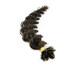 Lockiges 50 cm Haar europäischen Typs für die Keratinmethode - schwarz natürlich