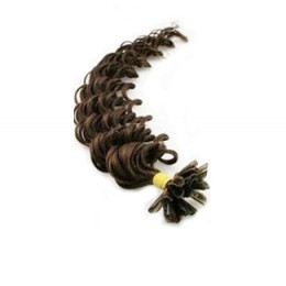 Lockiges 50 cm Haar europäischen Typs für die Keratinmethode - dunkelbraun