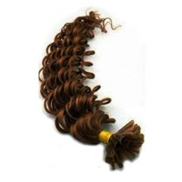 Lockiges 50 cm Haar europäischen Typs für die Keratinmethode - mittelbraun