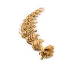 Lockiges 60 cm Haar europäischen Typs für die Keratinmethode - naturblond