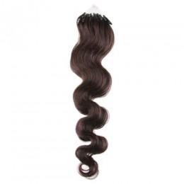 Wellige Haar für die Methoden Micro Ring / Easy Loop 60 cm – dunkelbraun
