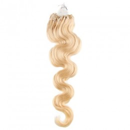 Wellige Haar für die Methoden Micro Ring / Easy Loop 60 cm – weißblond