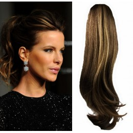Clip in příčesek culík/cop 100% lidské vlasy 60cm vlnitý - černý