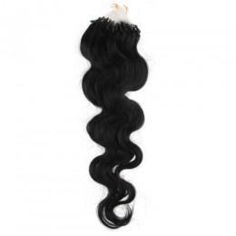 Wellige Haar für die Methoden Micro Ring / Easy Loop 60 cm – schwarz