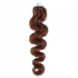 Wellige Haar für die Methoden Micro Ring / Easy Loop 60 cm – helleres braun